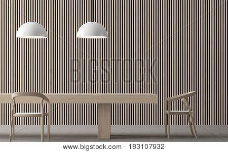 Modern contemporary dining room interior 3d rendering image. There are wooden furniture concrete floor and wall with wooden lattice
