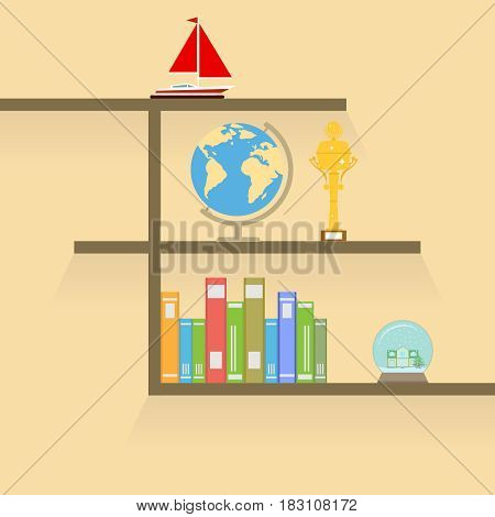 Bookshelf with globe and a gold cup. Flat design vector illustration vector.