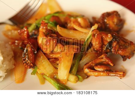 Frog Legs Fried With Potato And Vegetable