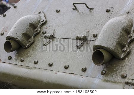 Rear of the tank, T-34, exhaust pipes