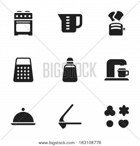 Set Of 9 Editable Meal Icons. Includes Symbols Such As Shredder, Salver, Paprika And More. Can Be Used For Web, Mobile, UI And Infographic Design.