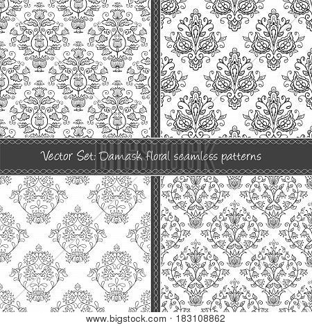 Seamless abstract damask pattern. Seamless pattern can be used for pattern fills web page background surface textures wraping paper. Floral textile background