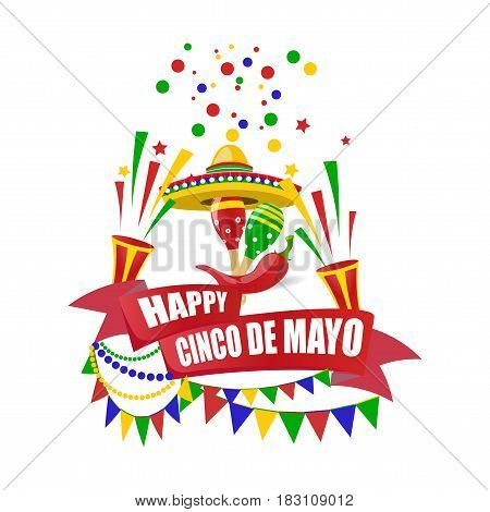 Cinco de Mayo. Merry holiday. Write with a wish for happiness on the tape. Sombrero, crackers, candies, flags, maracas and red peppers. Vector illustration