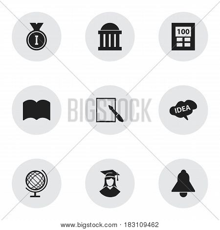 Set Of 9 Editable Education Icons. Includes Symbols Such As Courtroom, Dictionary, Mind And More. Can Be Used For Web, Mobile, UI And Infographic Design.