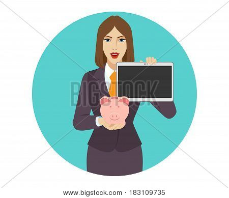 Businesswoman holding a piggy bank and showing blank digital tablet PC. Portrait of businesswoman character in a flat style. Vector illustration.