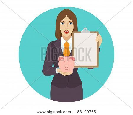 Businesswoman holding a piggy bank and clipboard. Portrait of businesswoman character in a flat style. Vector illustration.