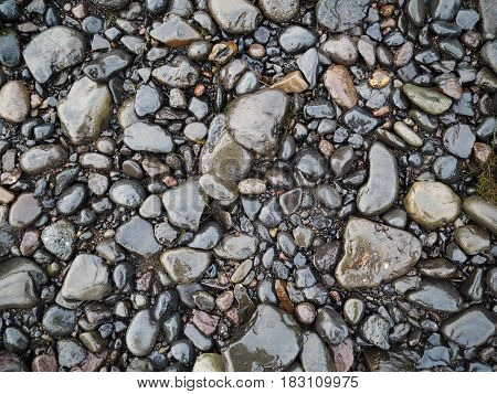 Stone and Gravel Texture Background from Iceland Waterfall