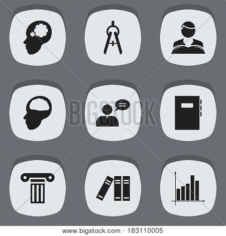 Set Of 9 Editable School Icons. Includes Symbols Such As Graph, Bookshelf, Math Tool And More. Can Be Used For Web, Mobile, UI And Infographic Design.