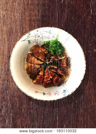 Japanese Unagi Don with Foie Gras (Rice with grilled Eel and Foie Gras).