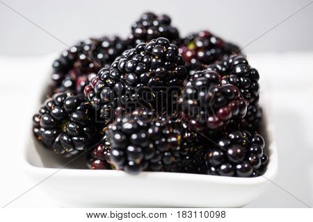 Blackberries in a bowl gray background, sweet