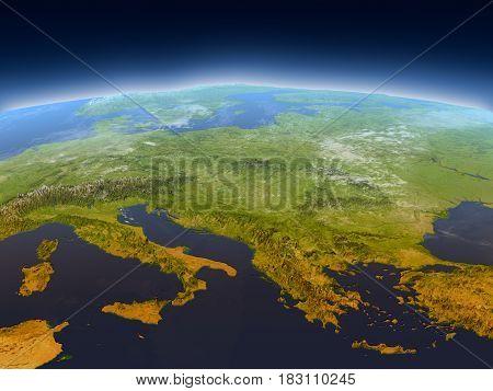 Adriatic Sea Region From Space