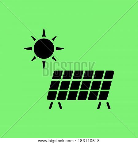 Solar energy panel icon. Flat web icon or sign isolated on green background. Collection modern trend concept design style vector illustration symbol