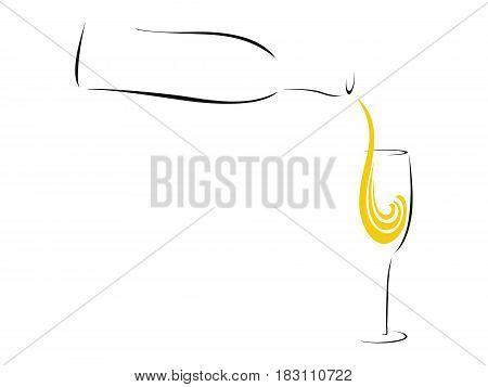 Splash of Champagne - stylized abstract pouring champagne