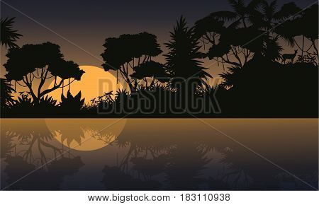 Vector illustration jungle scenery silhouettes collection stock