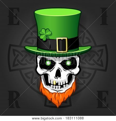 Comic St. Patrick's day design with beard skull with hat and a Celtic Cross behind. Isolated against background. EPS10 vector illustration.