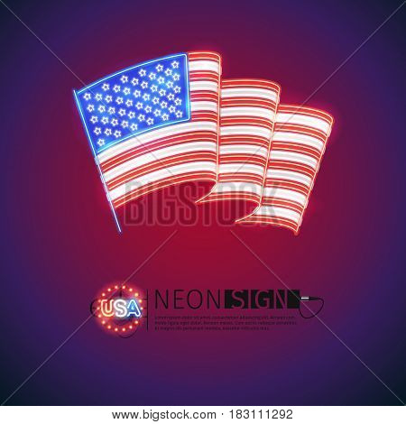 Wave USA flag neon signs makes it quick and easy to customize your patriotic project. Used neon vector brushes included.