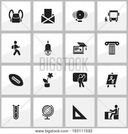 Set Of 16 Editable School Icons. Includes Symbols Such As Flask, Distance Learning, Schoolbag And More. Can Be Used For Web, Mobile, UI And Infographic Design.