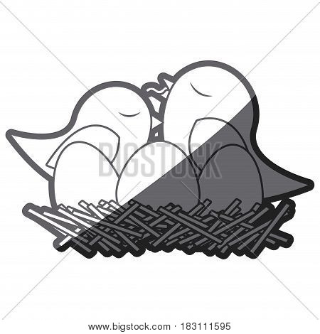 grayscale thick silhouette of bird in nest with eggs and chick vector illustration