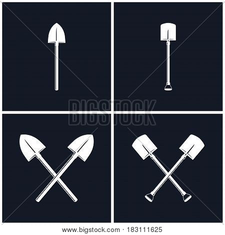 White Tools for Excavation Isolated on Black Background, Digging and Pick Up Shovels, Two Crossed Shovels, Black and White Vector Illustration
