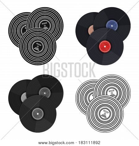 Vinyl records icon in cartoon design isolated on white background. Hipster style symbol stock vector illustration.