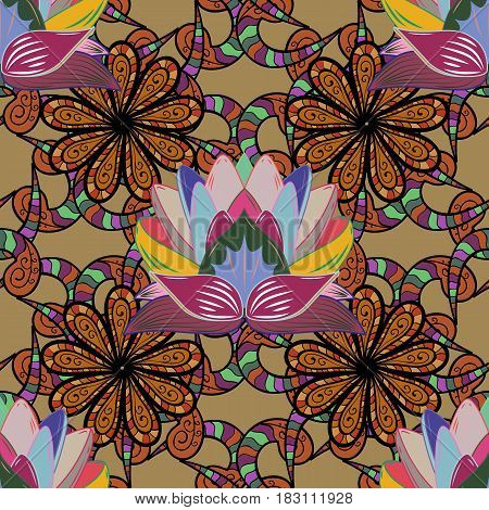 Colored stickers flash temporary tattoo mehndi and yoga design boho magic symbol. Colored over. Decorative ornate round mandala. Vintage vector pattern. Invitation wedding card scrapbooking.