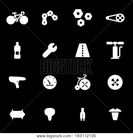 Vector white bicycle icons set on black background