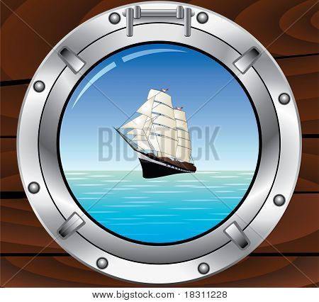 Metal Porthole And Tallship In The Ocean