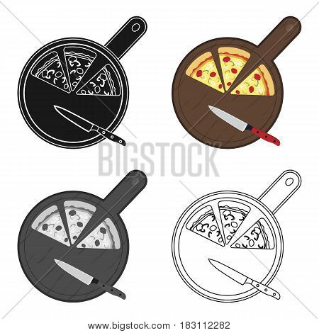 Pizza on cutting board icon in cartoon style isolated on white background. Pizza and pizzeria symbol vector illustration.