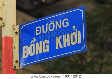 HO CHI MINH CITY VIETNAM - NOVEMBER 26, 2016: Dong Khoi shopping street sign Ho Chi Minh City Vietnam. Translation - Dong Khoi street.