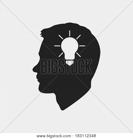 Idea head Icon Vector isolated on white .