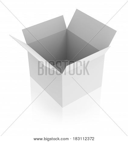 Blank opened white box with reflection isolated on white. 3d rendering.