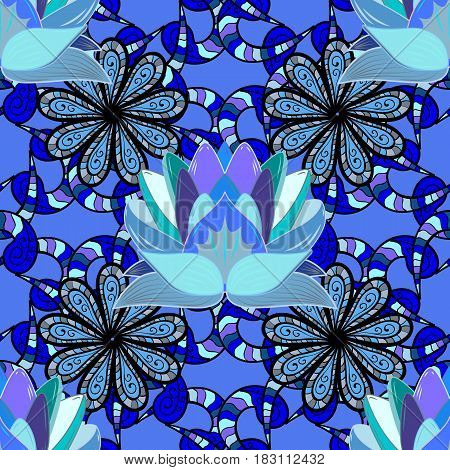 Design element. Lotus. Unusual flower shape oriental line. Decorative ornament. Yoga logo background for meditation poster. Anti-stress therapy pattern. Vector outline Mandala on blue background.