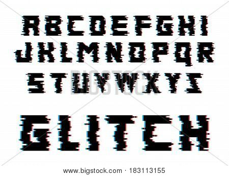 Glitch alphabet. Distortion font. Isolated vector illustration