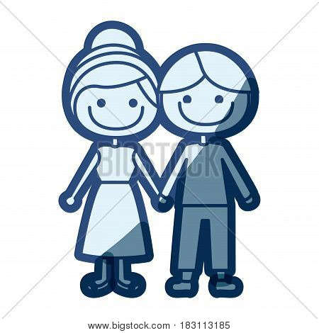 blue silhouette of caricature man with informal suit and woman collected hairstyle with taken hands vector illustration