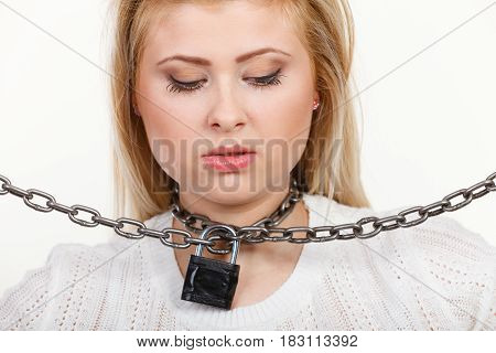 Woman Having Metal Chain Around Neck