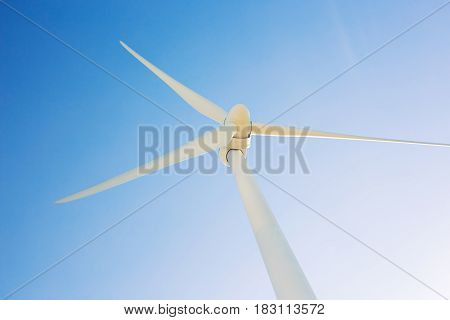 Wind mills during bright summer day. green meadow with Wind turbines generating electricity.