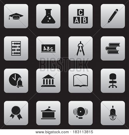 Set Of 16 Editable Graduation Icons. Includes Symbols Such As Ring, Math Tool, Alarm Bell And More. Can Be Used For Web, Mobile, UI And Infographic Design.