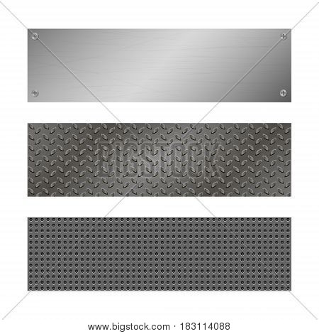 Techno vector banners. Perforated Metal background with plate and rivets. Metallic grunge texture. Brushed Steel iron aluminum surface. Abstract gray template for web Engineering construction theme