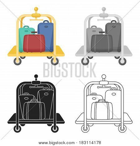 Luggage cart icon in cartoon style isolated on white background. Hotel symbol vector illustration.