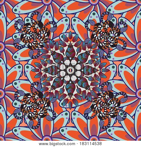 Presentation with mandala. Red blue lilac. Modern vector template for brochure leaflet flyer cover catalog magazine or annual report. Colored layout on petals background.