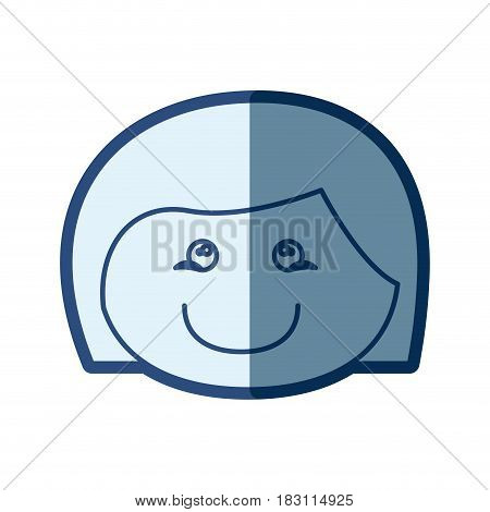 blue silhouette of caricature front face girl with short hair vector illustration