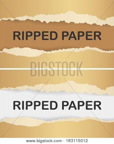 Realistic ripped golden paper with shadow. Web banner. Element for advertising and promotional message in gold colors. Torn paper, golden color.