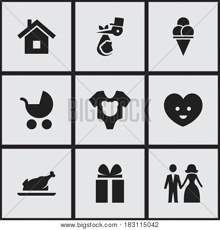Set Of 9 Editable Folks Icons. Includes Symbols Such As Perambulator, Soul, Married And More. Can Be Used For Web, Mobile, UI And Infographic Design.