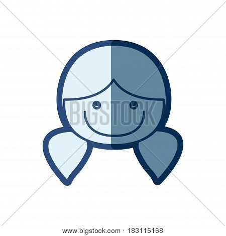 blue silhouette of caricature front face girl with pigtails hairstyle vector illustration