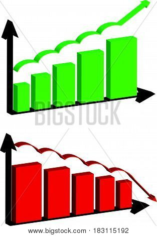 3D abstract graph on white background. Vector illustartion.