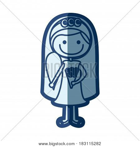 blue silhouette of caricature woman in wedding dress with side ponytail hairstyle vector illustration