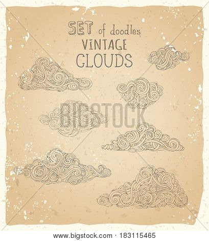 Vector Set Of Doodles Vintage Clouds.