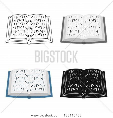 Book written in braille icon in cartoon design isolated on white background. Interpreter and translator symbol stock vector illustration.