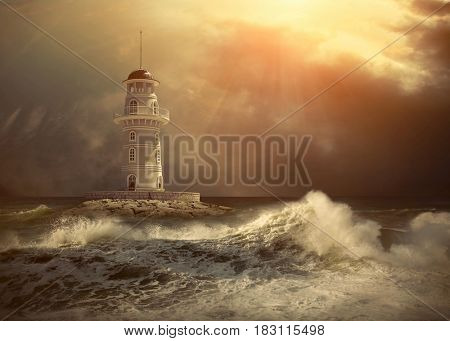 Lighthouse on the sea under sky composite.