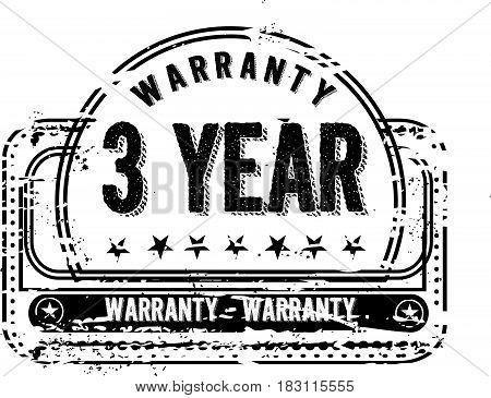 3 years warranty label icon vector vintage